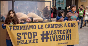 Chiuse in una camera a gas – Azione per dire NO all'uccisione dei visoni
