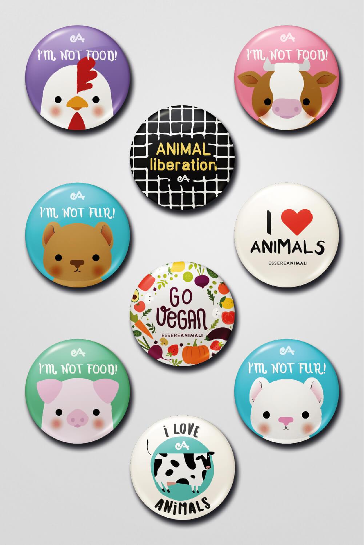 regali solidali: le spilline di essereanimali contro la violenza sugli animali