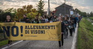 In corteo per dire NO all'allevamento di visoni