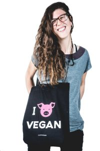 Borsa in cotone 'I love vegan'