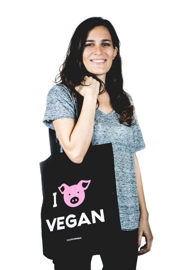 borsa tela i love vegan
