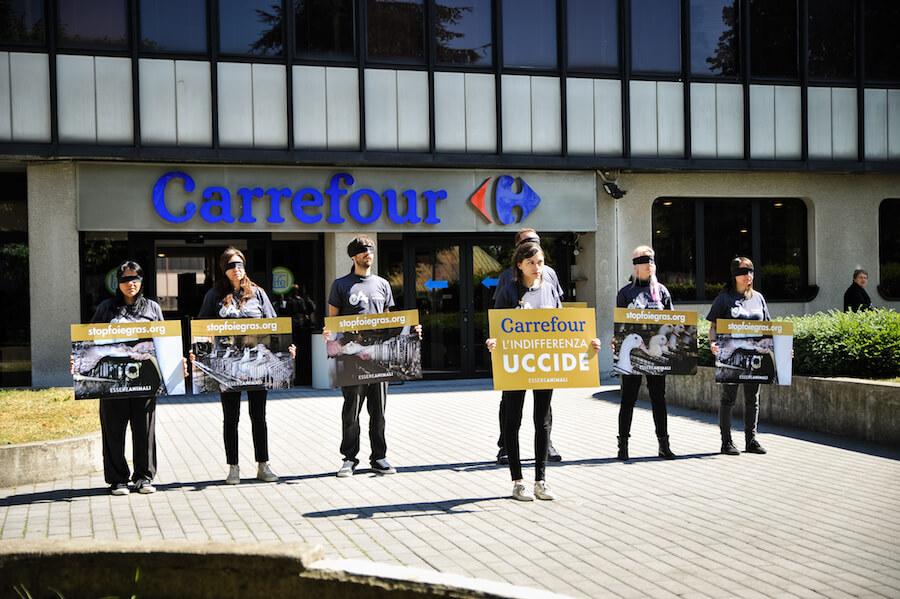 protesta uffici carrefour per foie gras