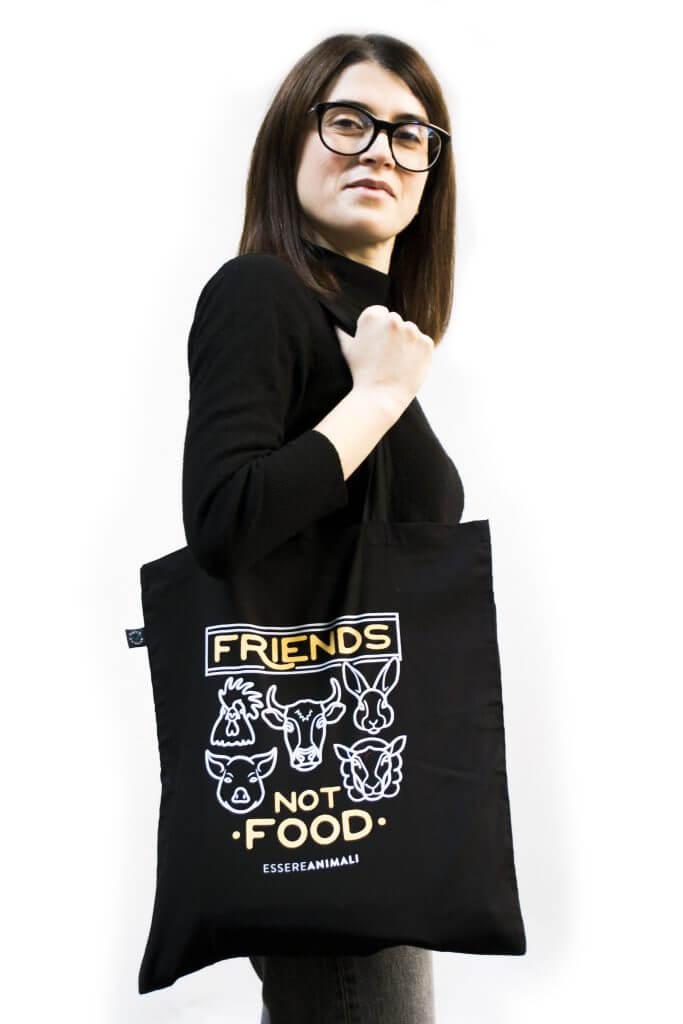 borsa in cotone biologico Friends not food essere animali