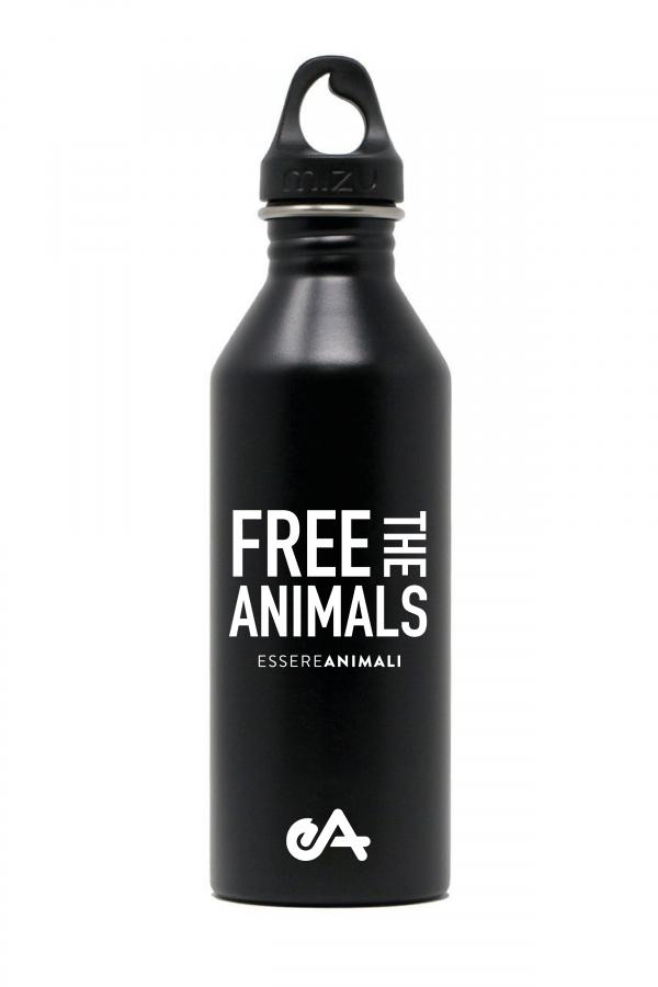 borraccia new ESSERE ANIMALI free the animals Nero front