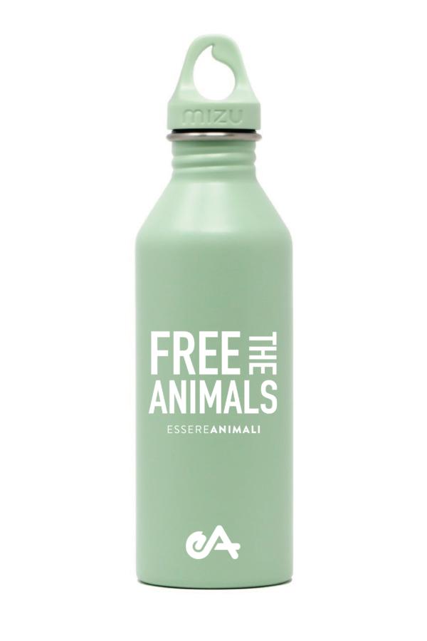 borraccia new ESSERE ANIMALI free the animals verde front