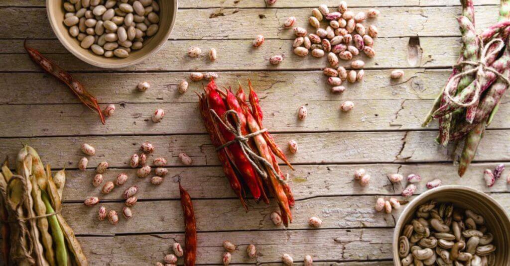 fagioli borlotti secchi su un tavolo